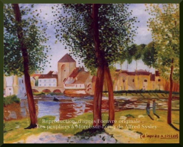 Les peupliers a Moret sur Loing Reproduction a la maniere de Alfred Sisley