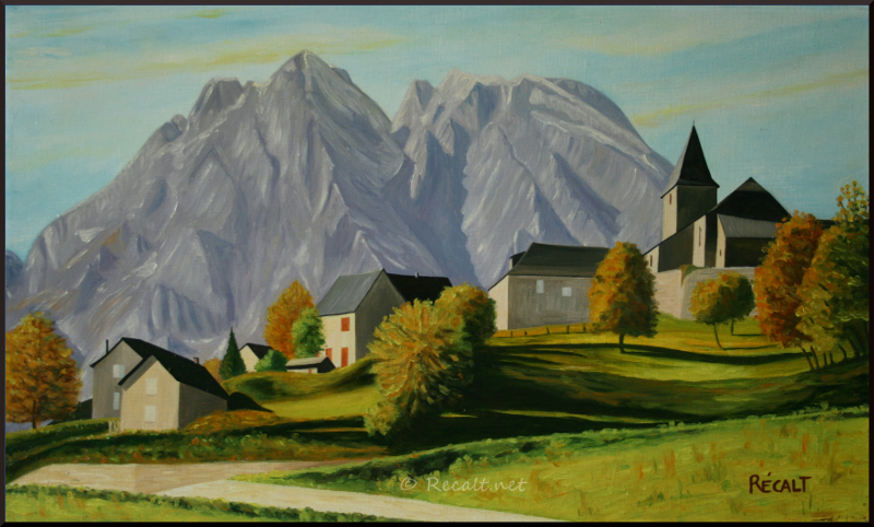 lescun - pyrénées - pyrenees - billare - ansabere - huile sur toile - oleo sobre tela - village