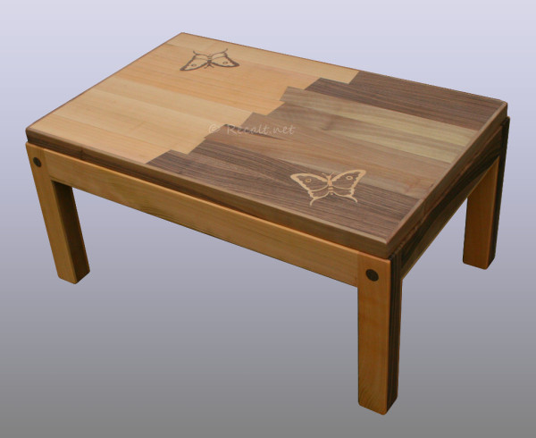 table basse papillons - marqueterie - table basse moderne - table salon moderne