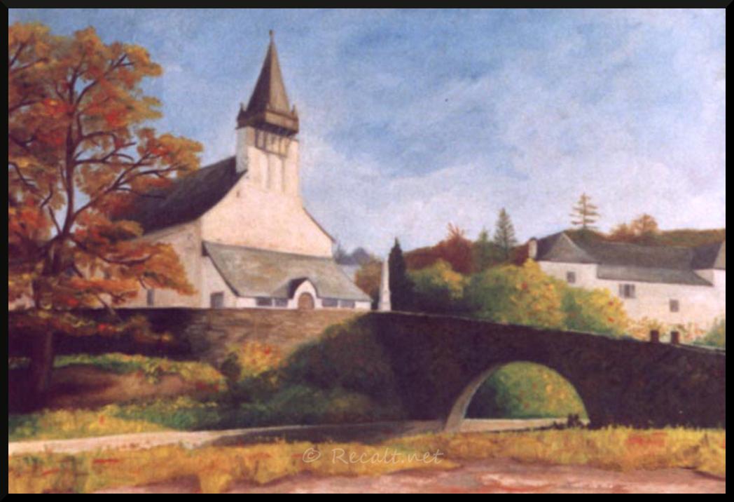 église romane ordiarp - urdinarbeko eliza - urdiñarbeko eliza - peinture huile toile - urdinarbe - urdiñarbe - urdiñarbeko plaza
