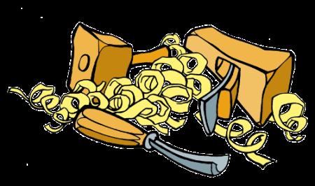 dessin ebenisterie - logo ebenisterie - ébénisterie - rabot - gouge - copeaux