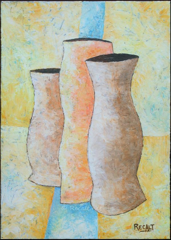 trois pots - acrylique sur toile - ontzi - pote - jar - acrilico - acrylic painting -