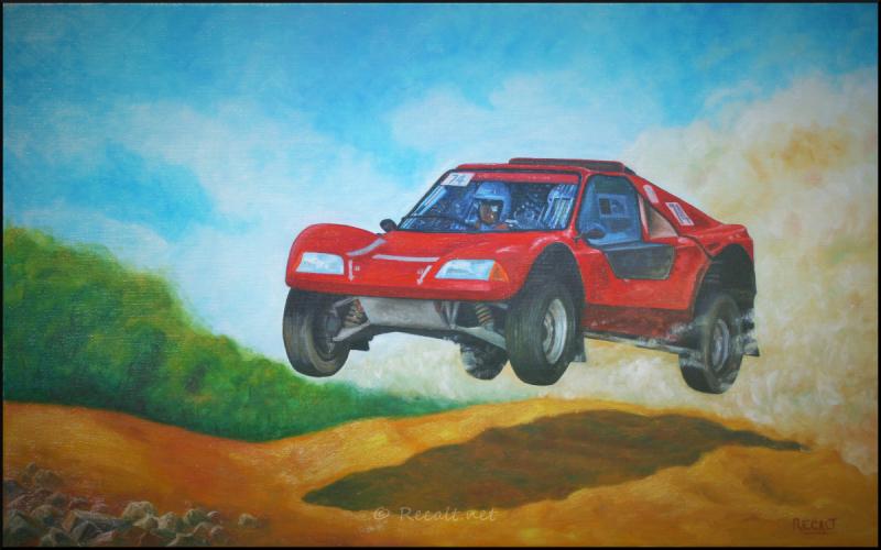 rallye tout-terrain - rallye cimes soule - peinture huile - car race - course voitures montagne soule - buggy - 4x4