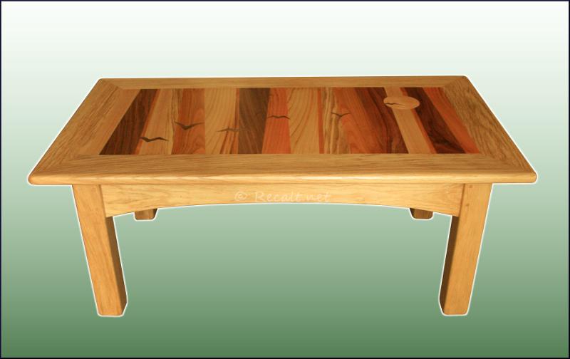 table basse - oiseaux - table basse oiseaux - table marquetée