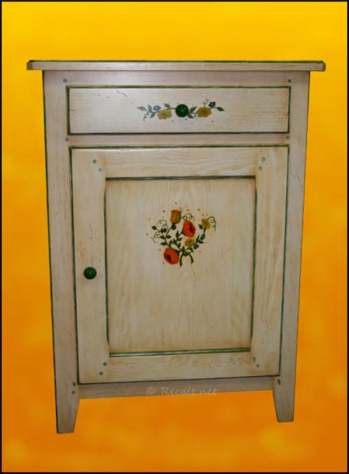 Meuble peint 1 porte recalt jean marc b nisterie peintures et cr ation - Meuble peint provencal ...